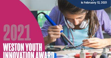 2021 Weston Youth Innovation Award- Applications due Feb 12